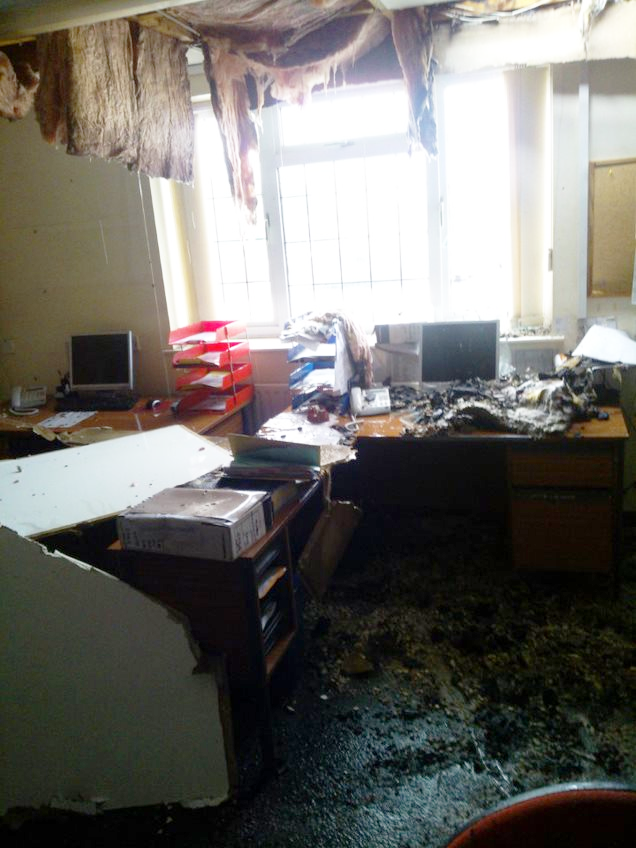An office devastated by fire and other potential disaster and in need of Emeralds Disaster Recovery Service